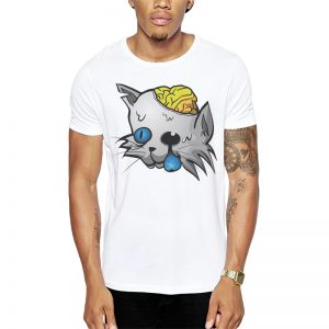 Polera Zombie Cat Blanca Get Out