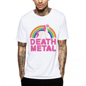 Polera Death Metal Unicorn Blanca Get Out