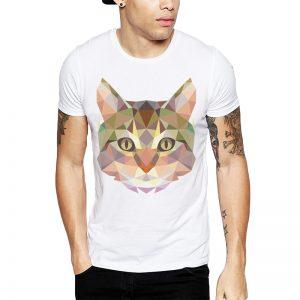 Polera Polygonal Cat Blanca Get Out
