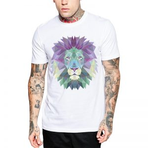 Polera Polygonal Lion Blanca Get Out