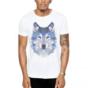 Polera Polygonal Wolf Blanca Get Out