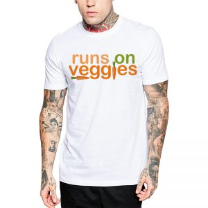 Polera Runs On Veggies Blanca Get Out