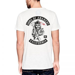 Polera Sons Of Anarchy Patches Blanca Get Out