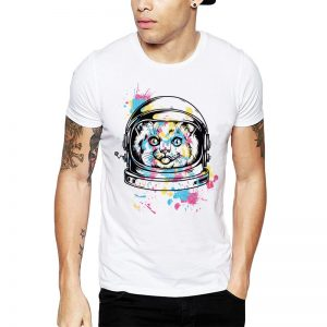 Polera Colorful Astrocat Blanca Get Out