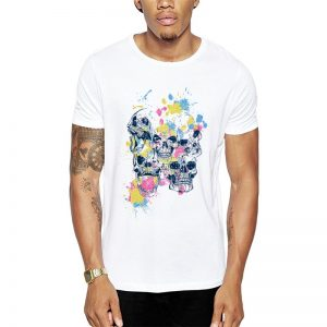 Polera Colorful Skulls Blanca Get Out