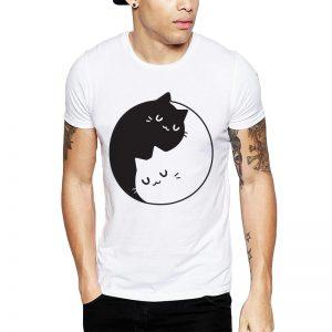 Polera Yin Yang Cats Blanca Get Out