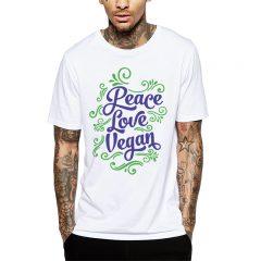 Polera Peace Love Vegan Blanca Get Out