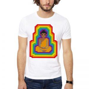 Polera Buddha 8 Bits Blanca Get Out