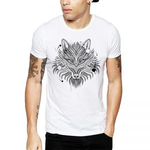 Polera Geometrical Wolf Blanca Get Out