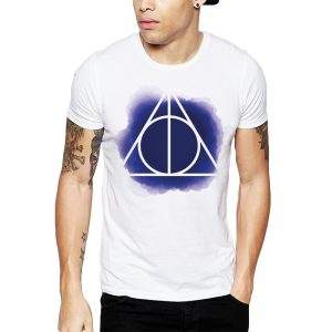 Polera Harry Potter Watercolor Deathly Hallows Blanca Get Out