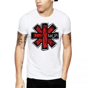 Polera Red Hot Chili Peppers Asterisk Blanca Get Out