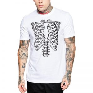 Polera Skeleton Chest Blanca Get Out
