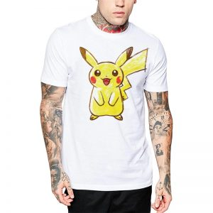Polera Pokemon Hand Drawn Pikachu Blanca Get Out