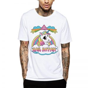 Polera Hail Satan Unicorn Blanca Get Out
