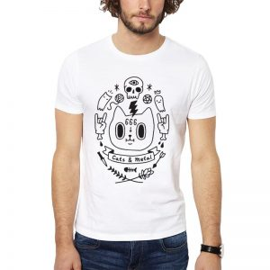 Polera Cats And Metal Blanca Get Out