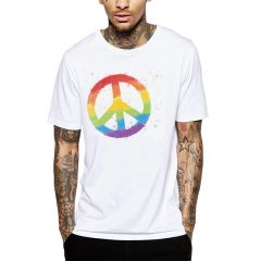 Polera Rainbow Peace Blanca Get Out