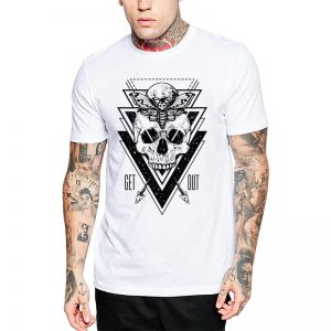 Polera Skull Born Ends Blanca Get Out