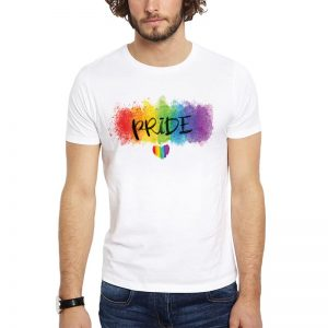 Polera Watercolor Pride Heart Blanca Get Out