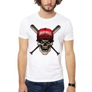 Polera Baseball Skull Blanca