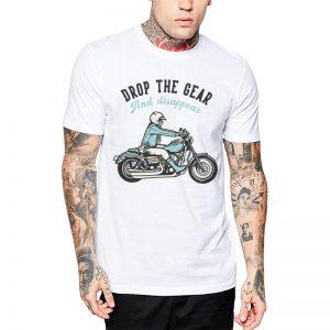 Polera Drop The Gear Motorcycle Blanca