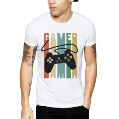 Polera Gamer Joystick Blanca