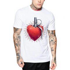 Polera Hand Grenade Heart Blanca