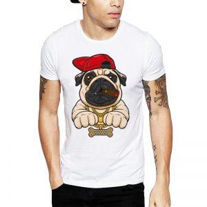 Polera Hip Hop Pug Blanca