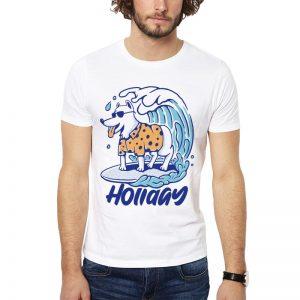 Polera Surf Dog Holiday Blanca