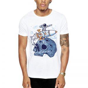 Polera Astro Skull Blanca