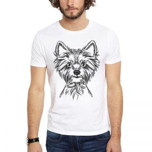Polera Drawn Yorkshire Terrier Blanca