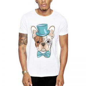 Polera Gentleman French Bulldog Blanca