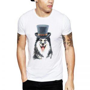 Polera Gentleman Siberian Husky Blanca