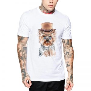 Polera Gentleman Yorkshire Terrier Blanca