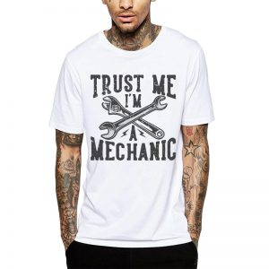 Polera Mecánico Trust Me I'm A Mechanic Blanca