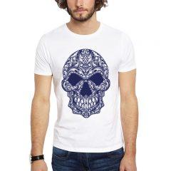 Polera Ornamental Skull Blanca