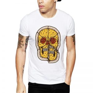 Polera Pizza Skull Blanca