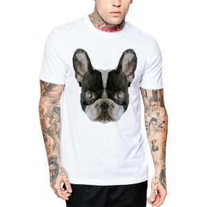 Polera Polygonal Boston Terrier Blanca