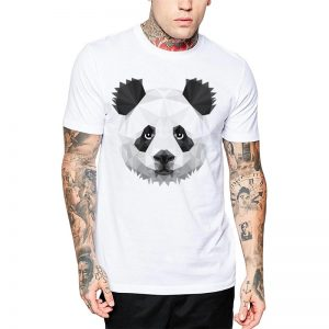 Polera Polygonal Panda Blanca
