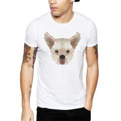 Polera Polygonal Yorkshire Terrier Blanca